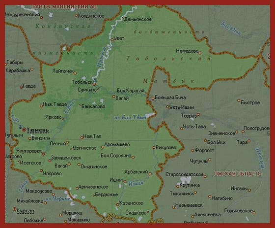 карта Тюменской области