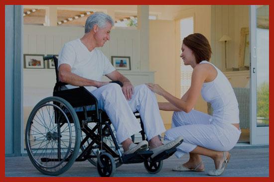 инвалид с медсестрой