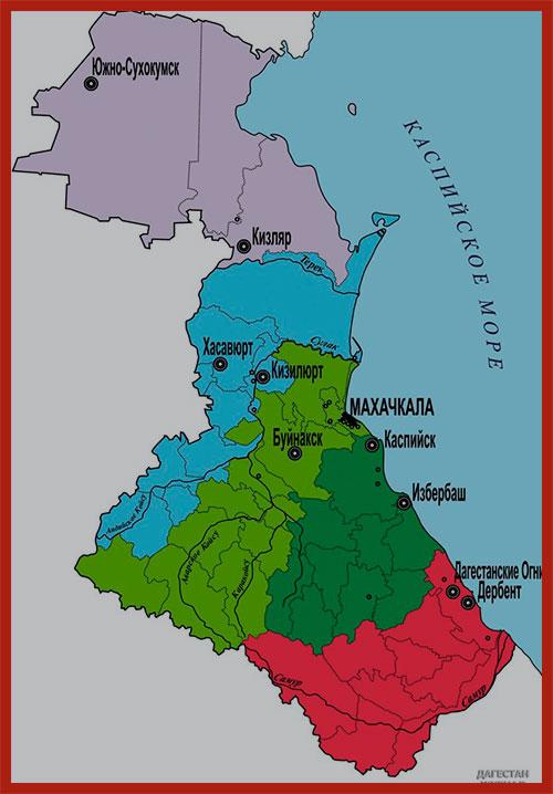 карта Республики Дагестан
