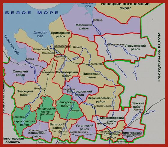 карта Архангельской области