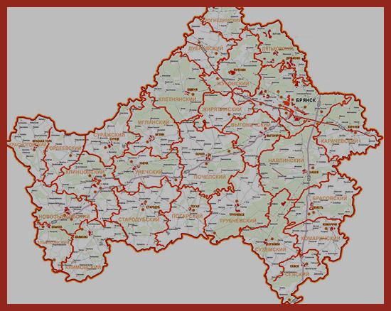 карта Брянской области