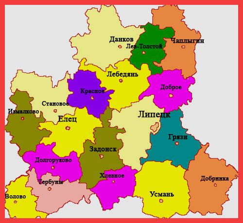 карта Липецкой области
