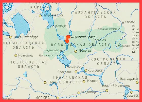 Вологодская область на карте
